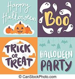 Halloween invitation cards vector. - Set of happy halloween...