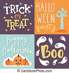 Halloween invitation cards vector. - Set of happy halloween...