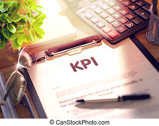 Clipboard with KPI Concept. 3D. - KPI on Clipboard with...