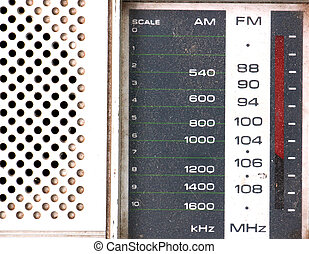 Scale Tuner of a Vintage Retro Radio on white background -...
