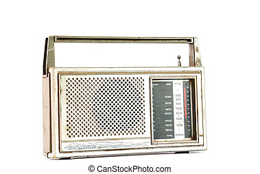 Vintage Retro Radio on white background - picture of a...