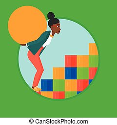 Woman carrying concrete ball uphill. - An african tired...