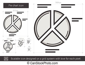 Pie chart line icon. - Pie chart vector line icon isolated...