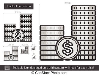 Stack of coins line icon - Stack of coins vector line icon...
