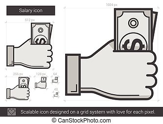 Salary line icon - Salary vector line icon isolated on white...