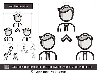 Workforce line icon. - Workforce vector line icon isolated...