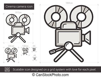 Cinema camera line icon.