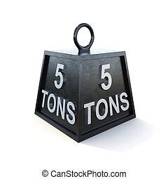 Five 5 tons weight isolated on white background. 3d rendering