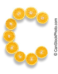 Vitamin C letter made from orange halves over a white...