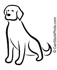 Funny dog black outline isolated on the white background,...