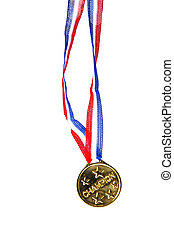 """champion\"" gold medal isolated on white background"