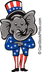 Republican Elephant Mascot Arms Crossed Standing Cartoon -...