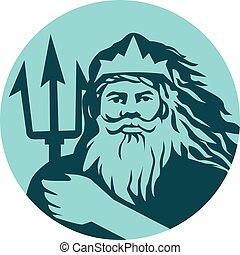 Triton Trident Front Circle Retro - Illustration of triton...