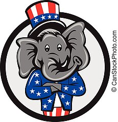 Republican Elephant Mascot Arms Crossed Circle Cartoon -...