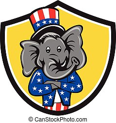 Republican Elephant Mascot Arms Crossed Shield Cartoon -...