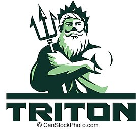 Triton Arms Crossed Trident Front Retro - Illustration of...