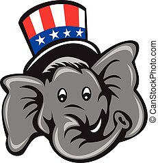Republican Elephant Mascot Head Top Hat Cartoon -...