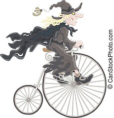 Halloween witch cycling - A sorceress in black riding an...