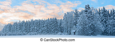 Panoramic landscape of snowbound forest with frosty small...