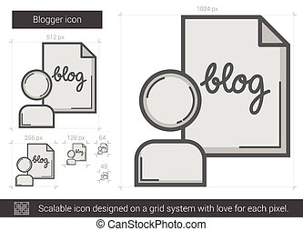 Blogger line icon. - Blogger vector line icon isolated on...