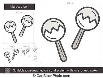 Maracas line icon. - Maracas vector line icon isolated on...