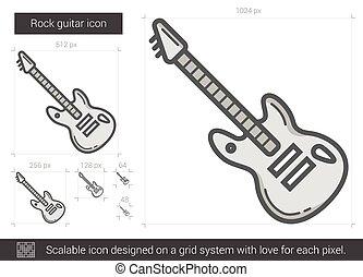 Rock guitar line icon. - Rock guitar vector line icon...