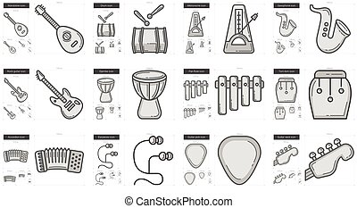 Music line icon set - Music vector line icon set isolated on...