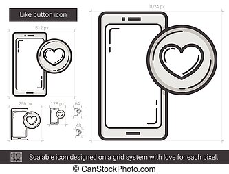 Like button line icon. - Like button vector line icon...