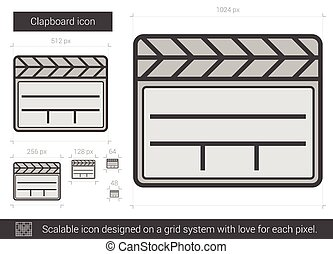 Clapboard line icon - Clapboard vector line icon isolated on...