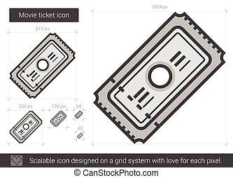 Movie ticket line icon. - Movie ticket vector line icon...