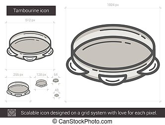 Tambourine line icon. - Tambourine vector line icon isolated...