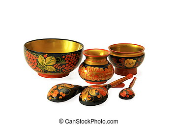 Khokhloma souvenirs on a white background. - Bowl, vases and...
