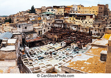 Leather Tannery in Fez, Morocco - People working at Leather...