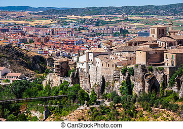 Old Hanging Houses of Cuenca, Spain with the city at the...