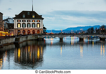 Munster bridge over Limmat river in Zurich, Switzerland at...