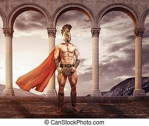 ficar, guerreira, Arcos,  medieval, frente