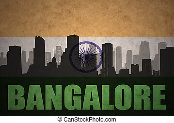 abstract silhouette of the city with text Bangalore at the...