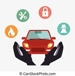 car security insurance - protective hands holding a car...