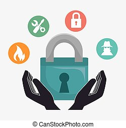 insurance security design - protective hands with padlock...