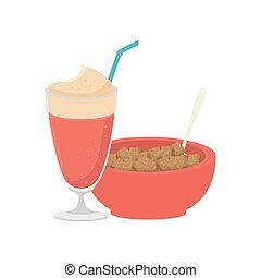 cereal bowl and milkshake - cereal bowl with strawberry...