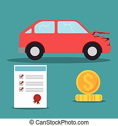car crash insurance with certificate and money icon....