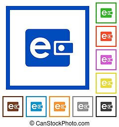 Electronic wallet framed flat icons - Set of color square...