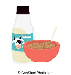 cereal bowl and milk bottle
