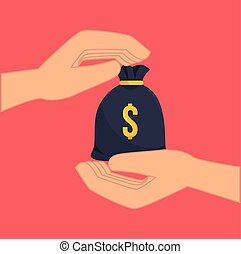 hands with money sack - hands holding a money sack. colorful...