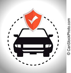 car insurance security and shield checked vector...