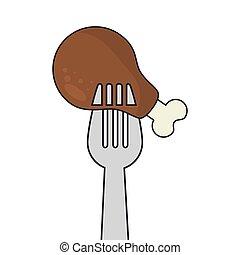 fork with chicken leg