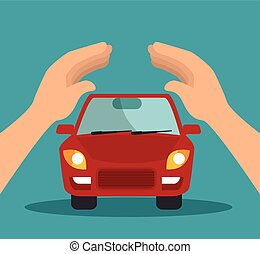 car security insurance - protective hands holding a car....