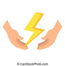natural disaster insurance - hands with yellow thunder....