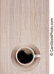 cup coffee - Cup from coffee on saucer on bamboo background