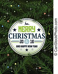 Christmas pine background with lights and stars. Vector...